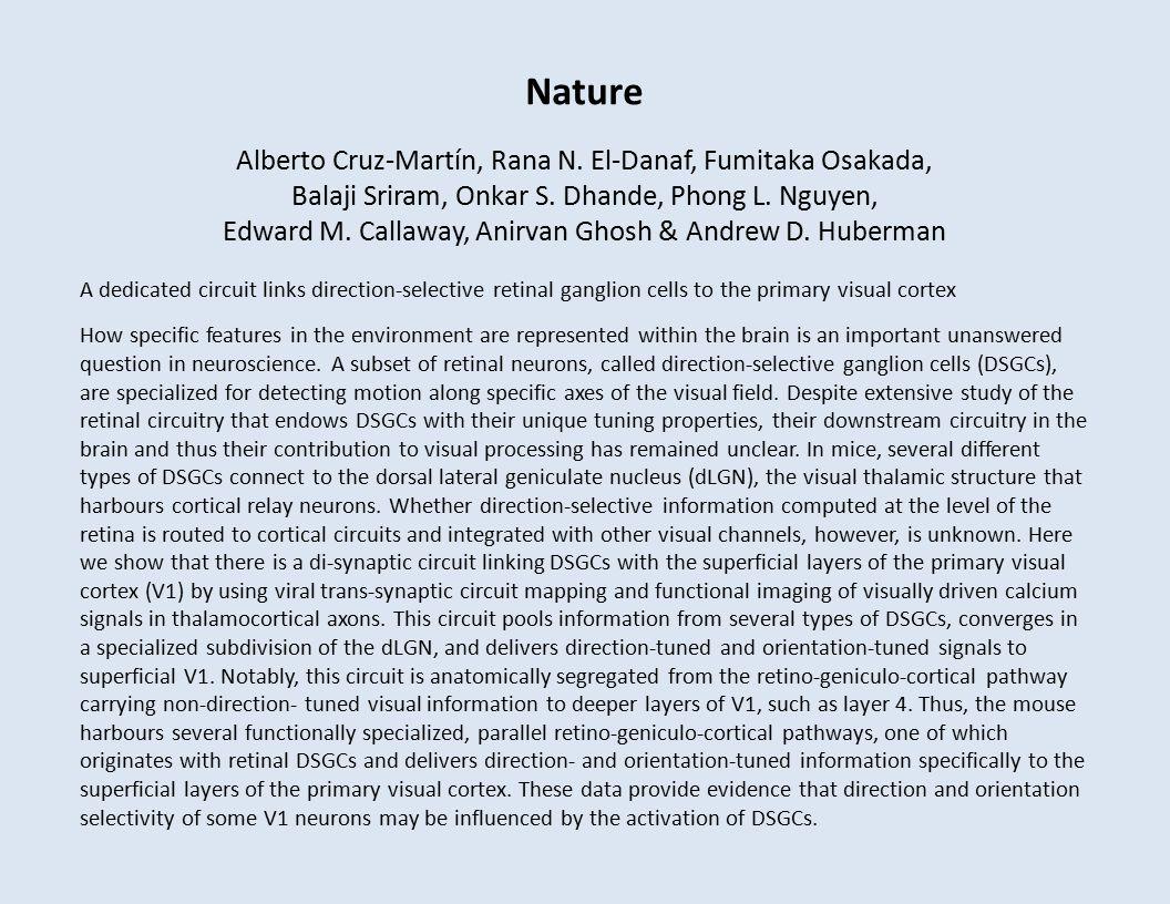Nature Alberto Cruz-Martín, Rana N. El-Danaf, Fumitaka Osakada, Balaji Sriram, Onkar S.