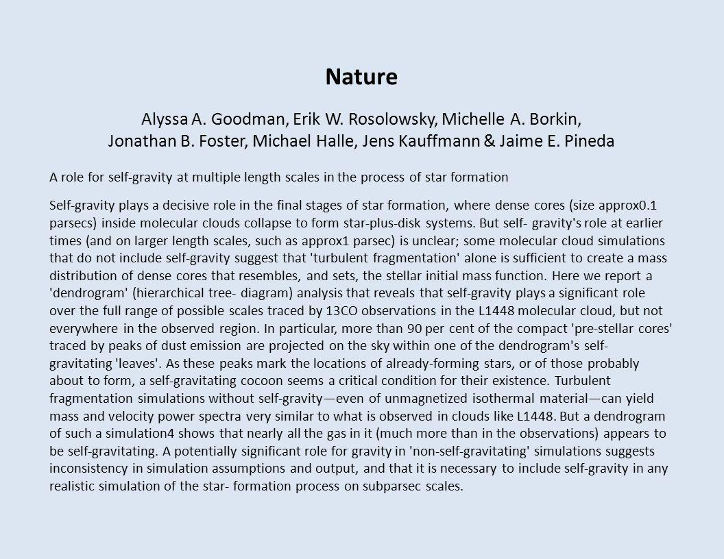 Nature Alyssa A. Goodman, Erik W. Rosolowsky, Michelle A.
