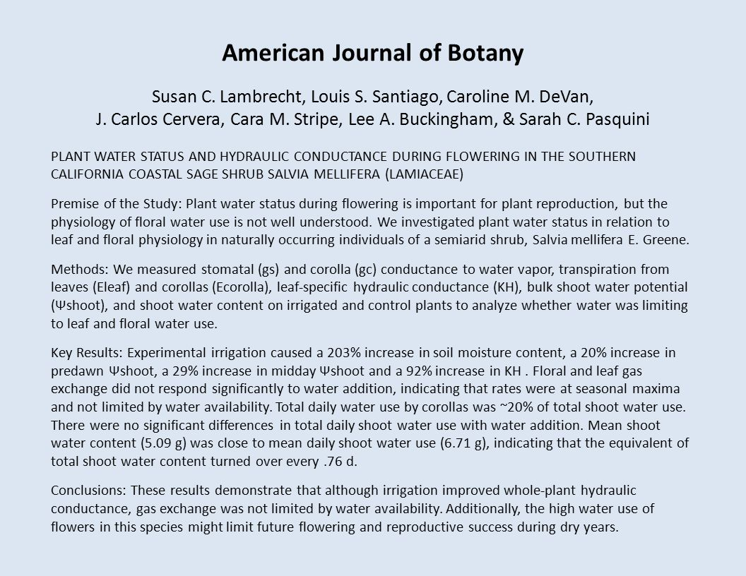 American Journal of Botany Susan C. Lambrecht, Louis S.