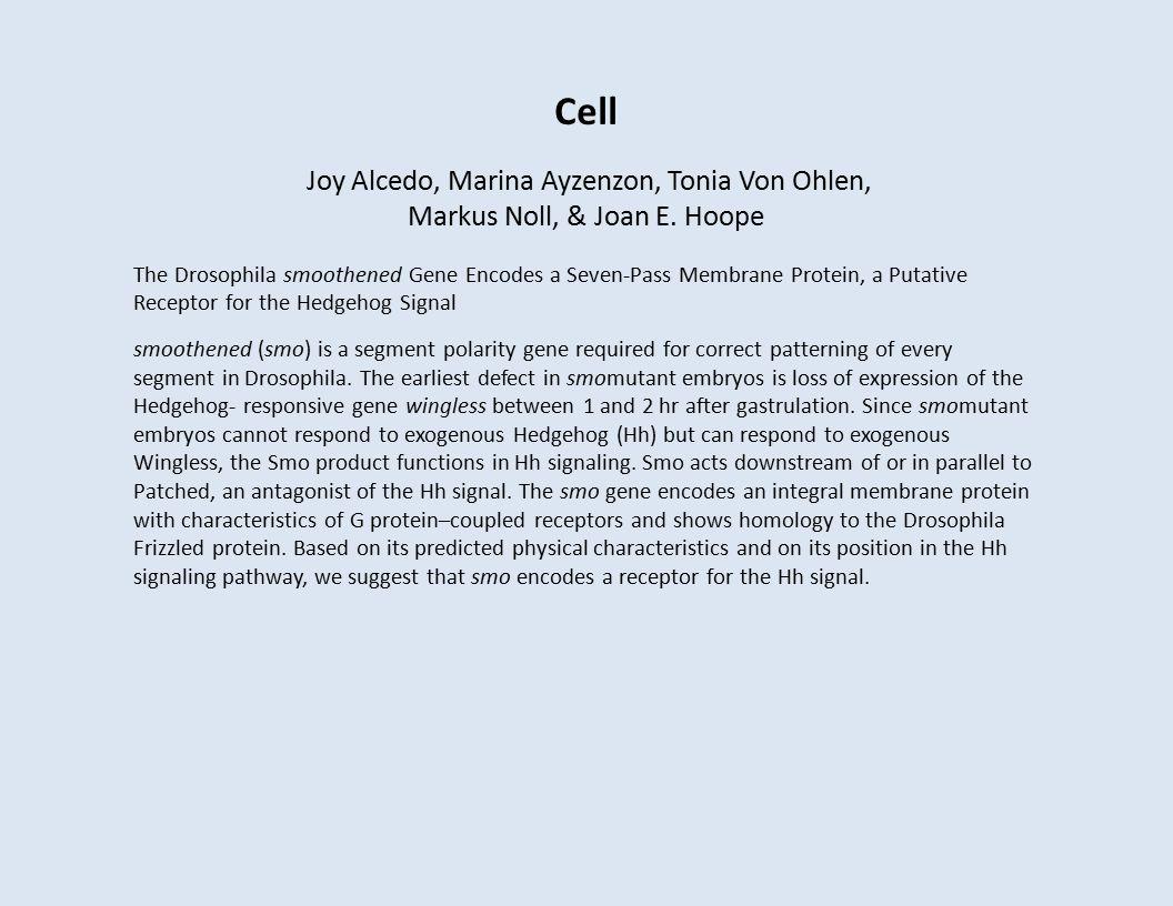 Cell Joy Alcedo, Marina Ayzenzon, Tonia Von Ohlen, Markus Noll, & Joan E.