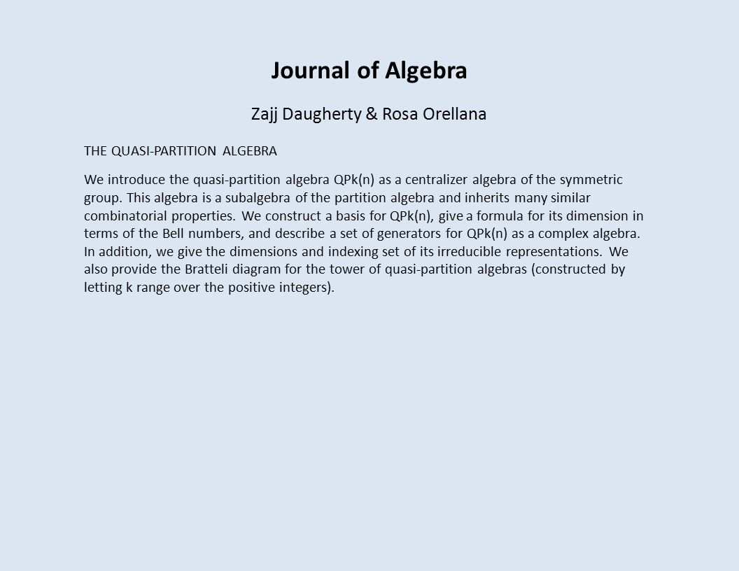Journal of Algebra Zajj Daugherty & Rosa Orellana THE QUASI-PARTITION ALGEBRA We introduce the quasi-partition algebra QPk(n) as a centralizer algebra of the symmetric group.