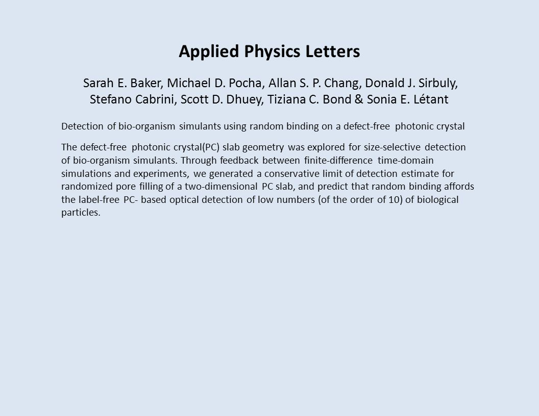 Applied Physics Letters Sarah E. Baker, Michael D.