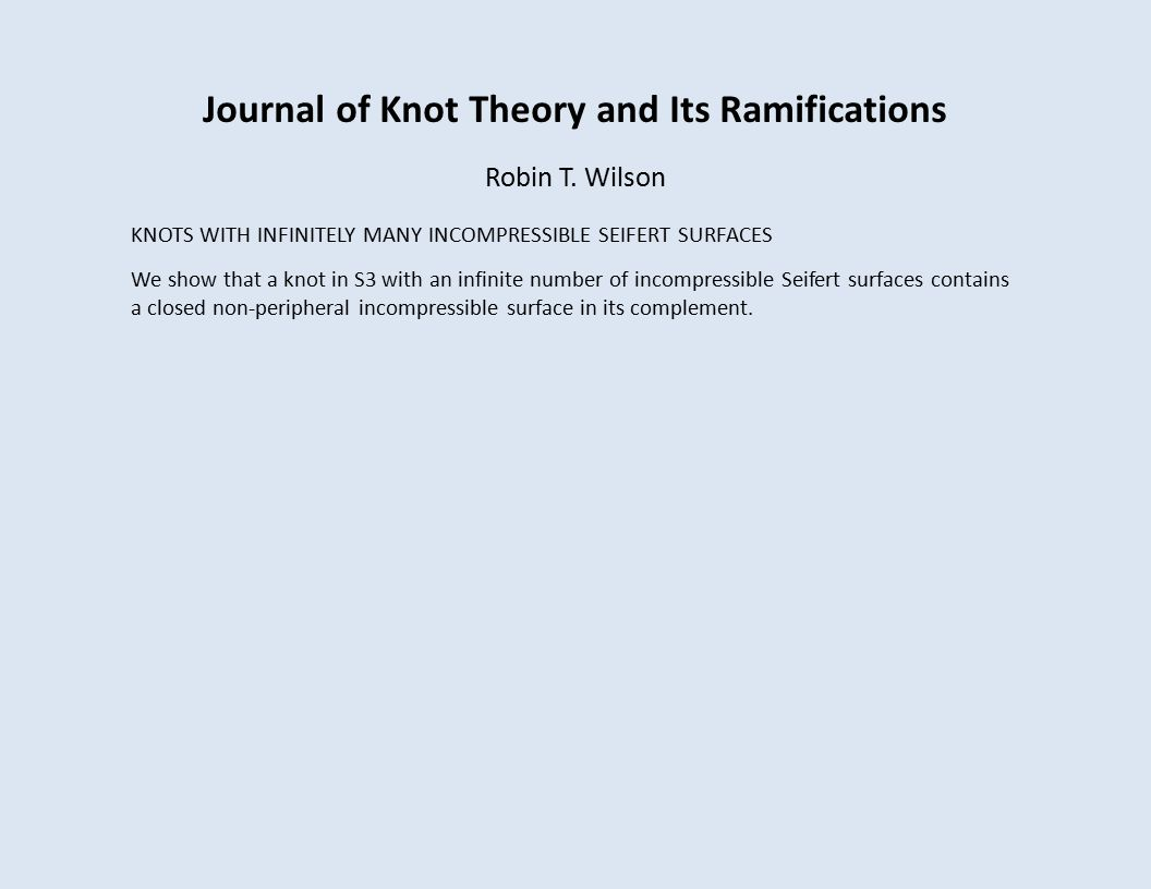 Journal of Knot Theory and Its Ramifications Robin T.