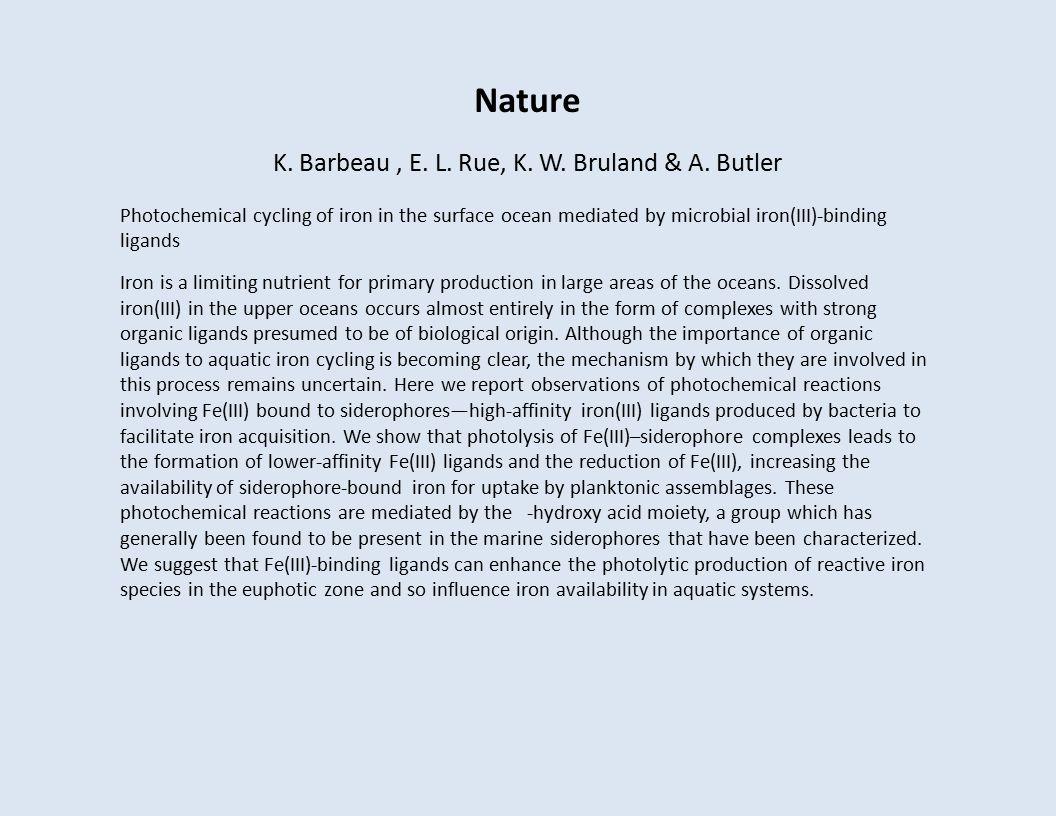 Nature K. Barbeau, E. L. Rue, K. W. Bruland & A.