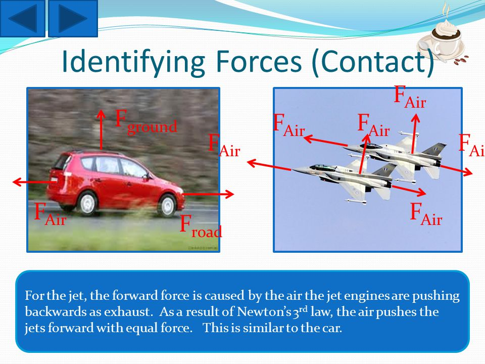 Identifying Forces (Contact) For the jet, the forward force is caused by the air the jet engines are pushing backwards as exhaust.