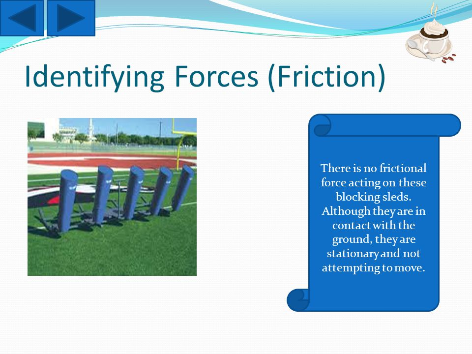 Identifying Forces (Friction) There is no frictional force acting on these blocking sleds.