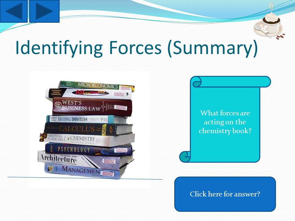 Identifying Forces (Summary) Click here for answer What forces are acting on the chemistry book