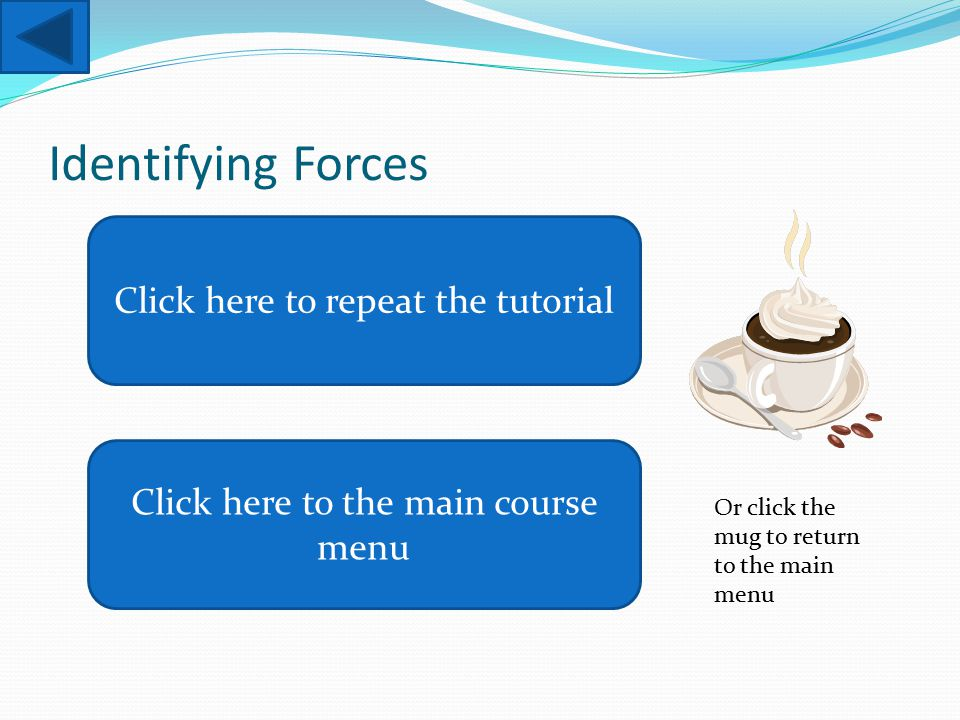Identifying Forces Click here to repeat the tutorial Click here to the main course menu Or click the mug to return to the main menu