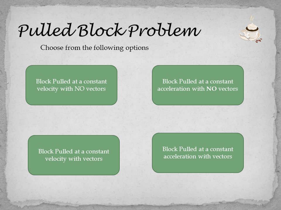Choose from the following options Block Pulled at a constant velocity with NO vectors Block Pulled at a constant acceleration with vectors Block Pulled at a constant velocity with vectors Block Pulled at a constant acceleration with NO vectors