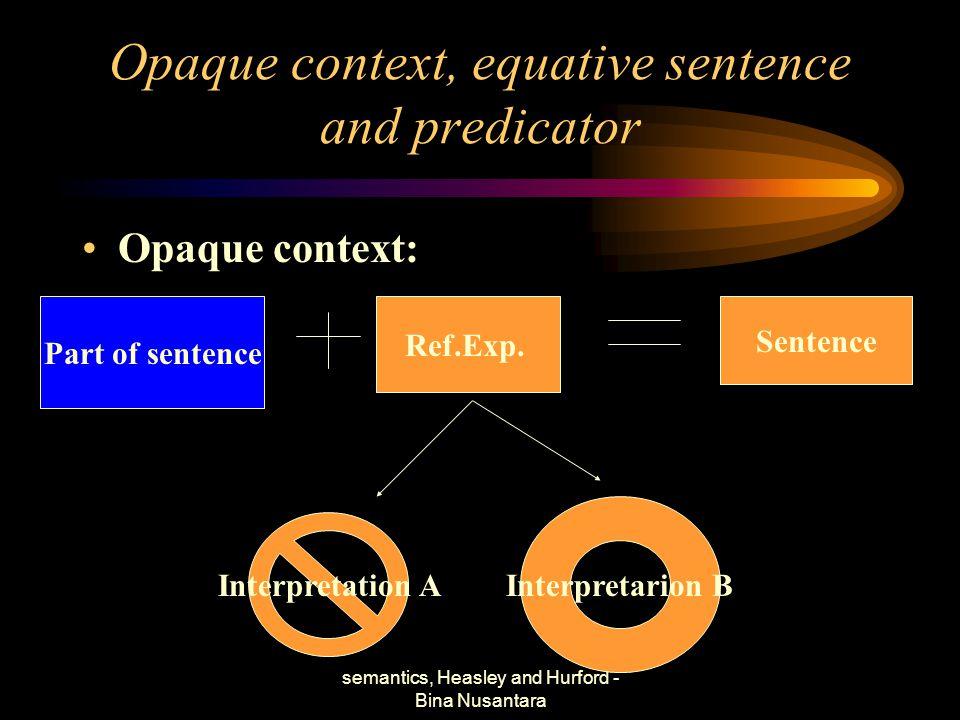 semantics, Heasley and Hurford - Bina Nusantara TIK 5 Opaque context, equative sentence and predicator Objective: –Mahasiswa menjelaskan konsep dari qpaque contxt, equative sentence dan predicator.