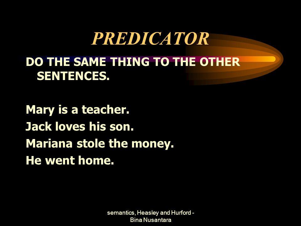 semantics, Heasley and Hurford - Bina Nusantara PREDICATOR DO THE SAME THING TO THE OTHER SENTENCES. Mary is a teacher. Jack loves his son. Mariana st