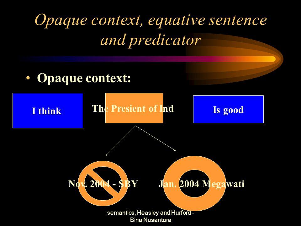 semantics, Heasley and Hurford - Bina Nusantara Opaque context, equative sentence and predicator Opaque context: I think The Presient of Ind Nov. 2004