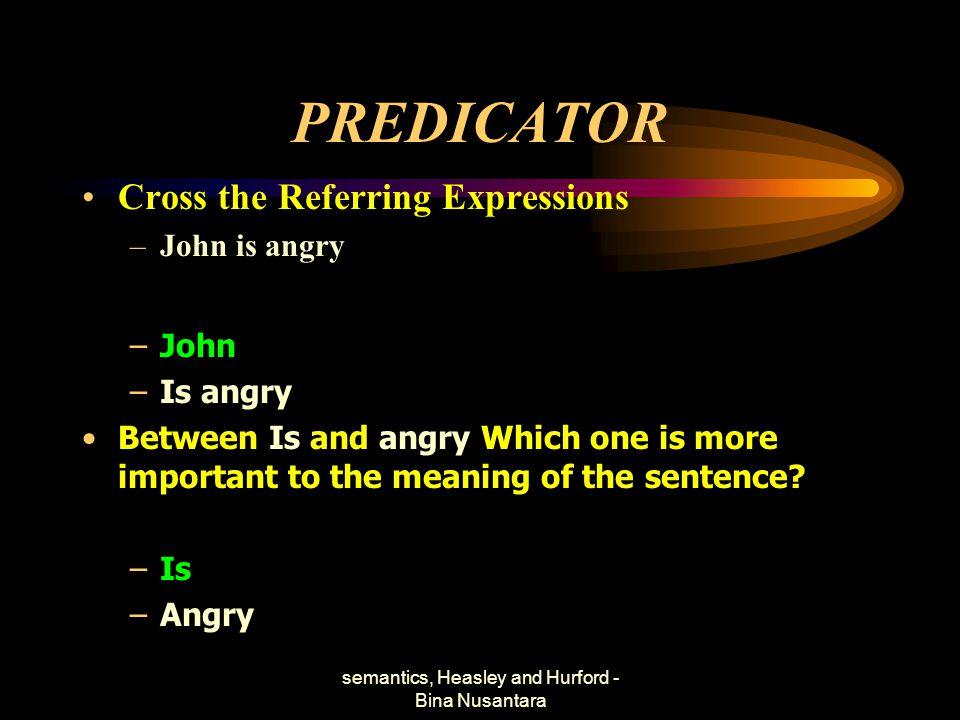 semantics, Heasley and Hurford - Bina Nusantara PREDICATOR Cross the Referring Expressions –John is angry –John –Is angry Between Is and angry Which o