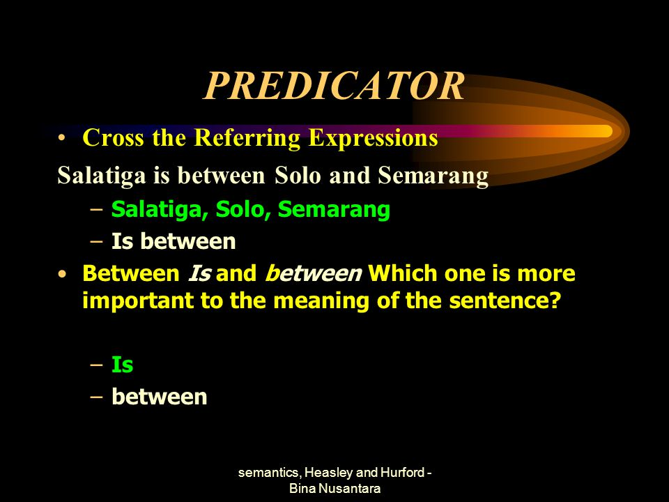 semantics, Heasley and Hurford - Bina Nusantara PREDICATOR Cross the Referring Expressions Salatiga is between Solo and Semarang –Salatiga, Solo, Sema
