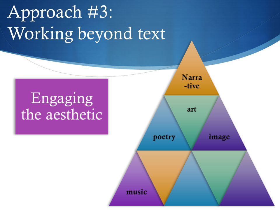 Approach #3: Working beyond text Engaging the aesthetic Narra -tive poetry art imagemusic