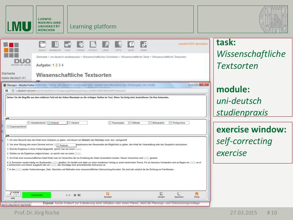 task: Wissenschaftliche Textsorten module: uni-deutsch studienpraxis exercise window: self-correcting exercise Prof.