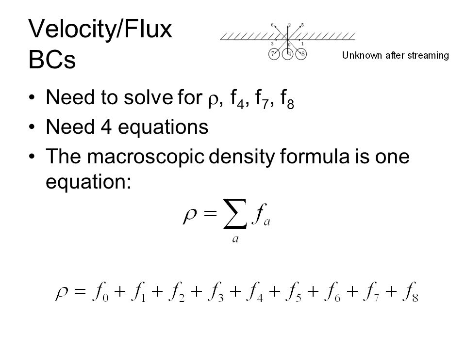 Velocity/Flux BCs Need to solve for , f 4, f 7, f 8 Need 4 equations The macroscopic density formula is one equation: