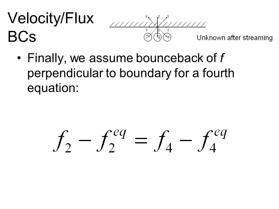 Velocity/Flux BCs Finally, we assume bounceback of f perpendicular to boundary for a fourth equation:
