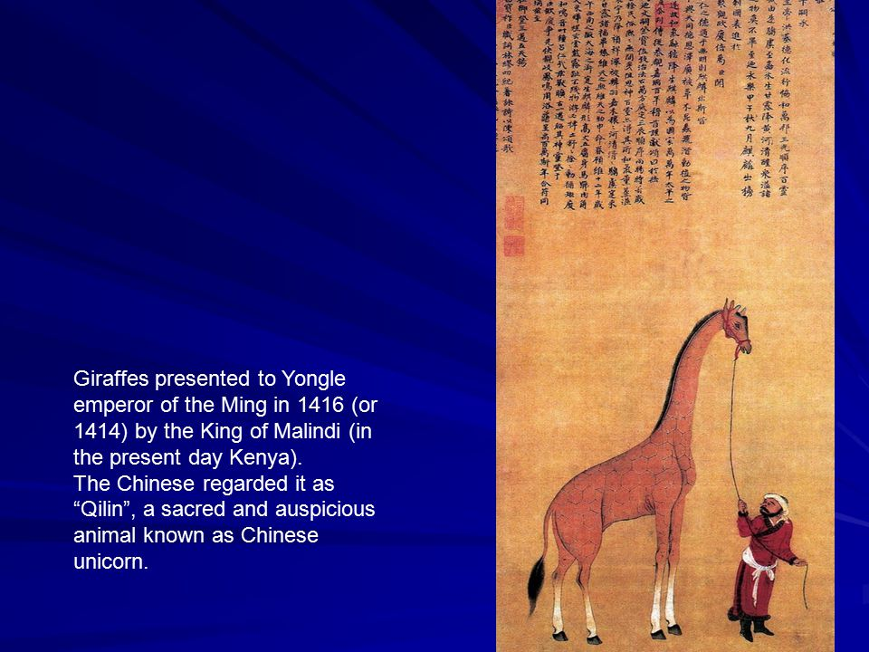 "Giraffes presented to Yongle emperor of the Ming in 1416 (or 1414) by the King of Malindi (in the present day Kenya). The Chinese regarded it as ""Qili"