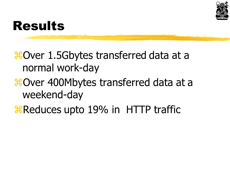 Results zOver 1.5Gbytes transferred data at a normal work-day zOver 400Mbytes transferred data at a weekend-day zReduces upto 19% in HTTP traffic