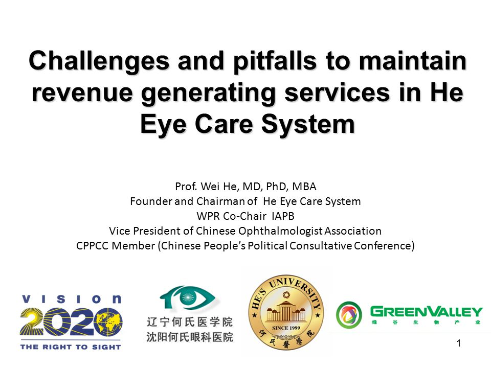 1 Challenges and pitfalls to maintain revenue generating services in He Eye Care System Prof. Wei He, MD, PhD, MBA Founder and Chairman of He Eye Care