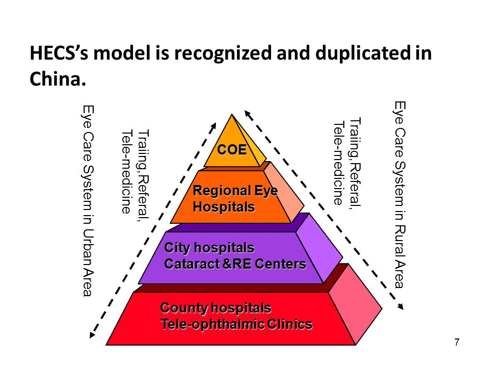 7 HECS's model is recognized and duplicated in China. COE Regional Eye Hospitals City hospitals Cataract &RE Centers County hospitals Tele-ophthalmic