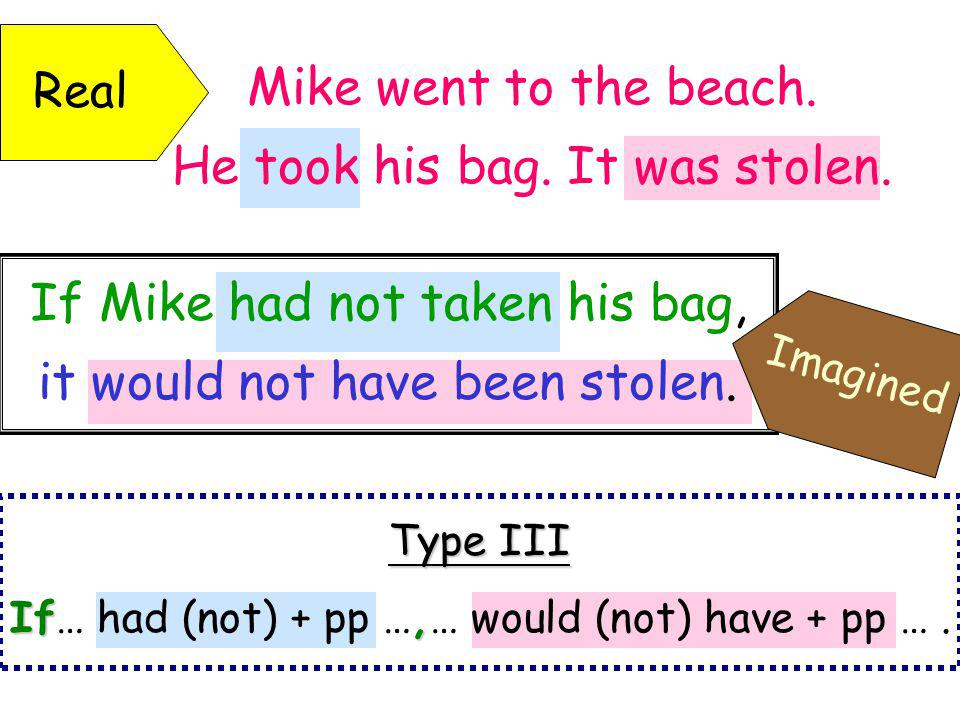 If Mike had not taken his bag, it would not have been stolen.