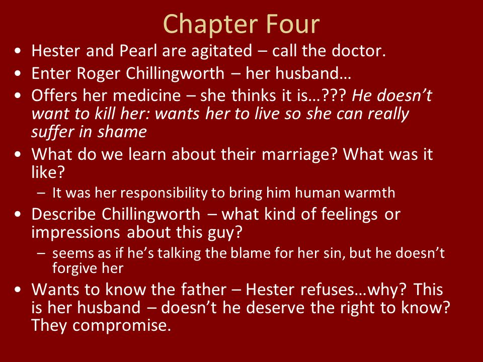 Chapter Four Hester and Pearl are agitated – call the doctor. Enter Roger Chillingworth – her husband… Offers her medicine – she thinks it is…??? He d