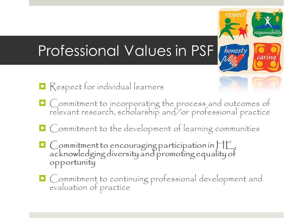 Professional Values in PSF  Respect for individual learners  Commitment to incorporating the process and outcomes of relevant research, scholarship and/or professional practice  Commitment to the development of learning communities  Commitment to encouraging participation in HE, acknowledging diversity and promoting equality of opportunity  Commitment to continuing professional development and evaluation of practice
