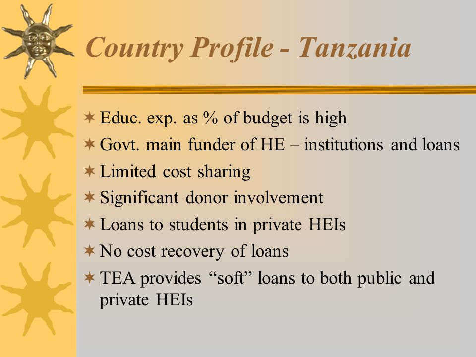 Country Profile - Tanzania  Educ.exp. as % of budget is high  Govt.