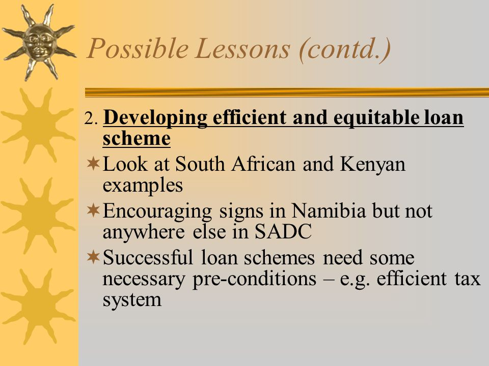 Possible Lessons (contd.) 2.