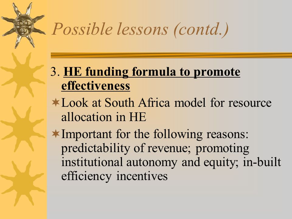 Possible lessons (contd.) 3.