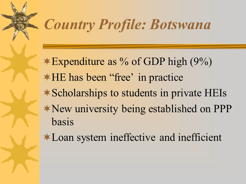 Country Profile: Botswana  Expenditure as % of GDP high (9%)  HE has been free' in practice  Scholarships to students in private HEIs  New university being established on PPP basis  Loan system ineffective and inefficient
