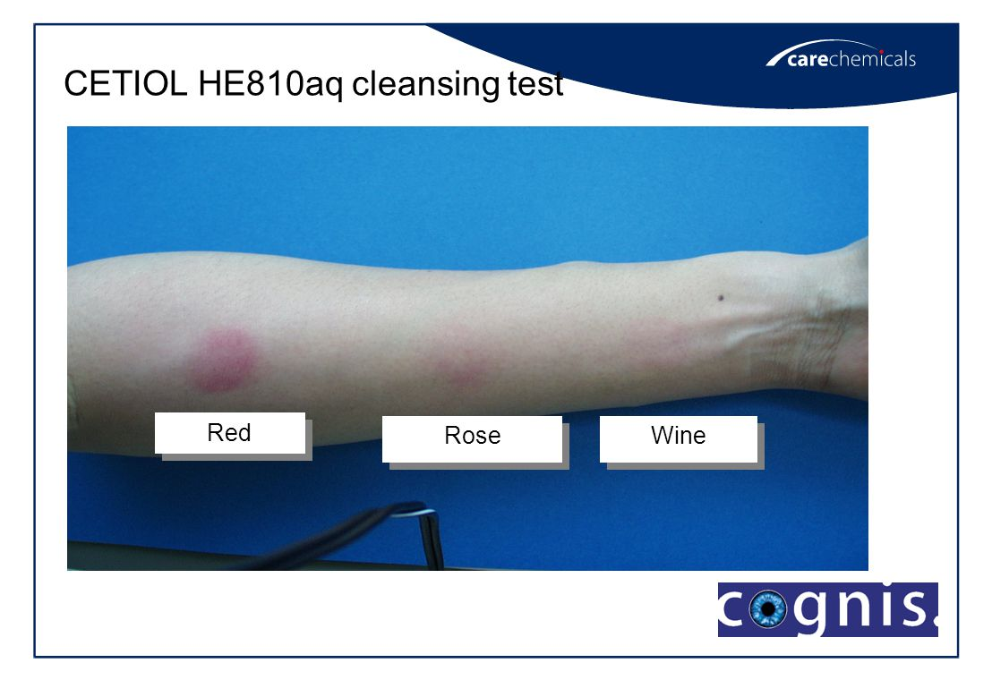 CETIOL HE810aq cleansing test Red Rose Wine