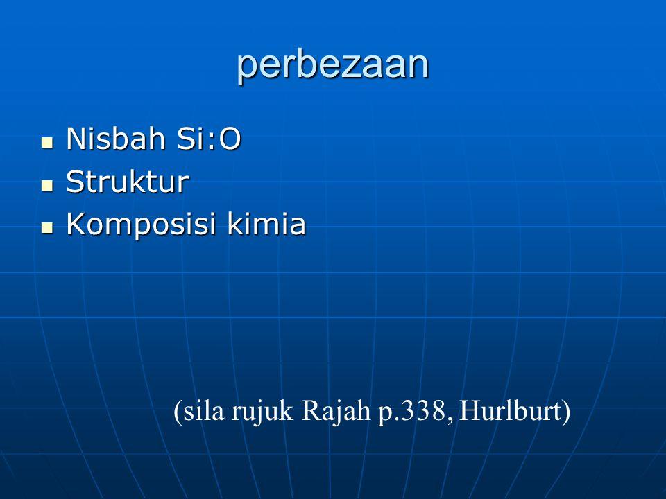 perbezaan Nisbah Si:O Nisbah Si:O Struktur Struktur Komposisi kimia Komposisi kimia (sila rujuk Rajah p.338, Hurlburt)