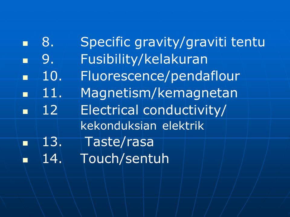 8.Specific gravity/graviti tentu 9.Fusibility/kelakuran 10.Fluorescence/pendaflour 11.Magnetism/kemagnetan 12Electrical conductivity/ kekonduksian elektrik 13.