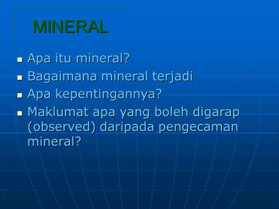 MINERAL Apa itu mineral. Apa itu mineral.