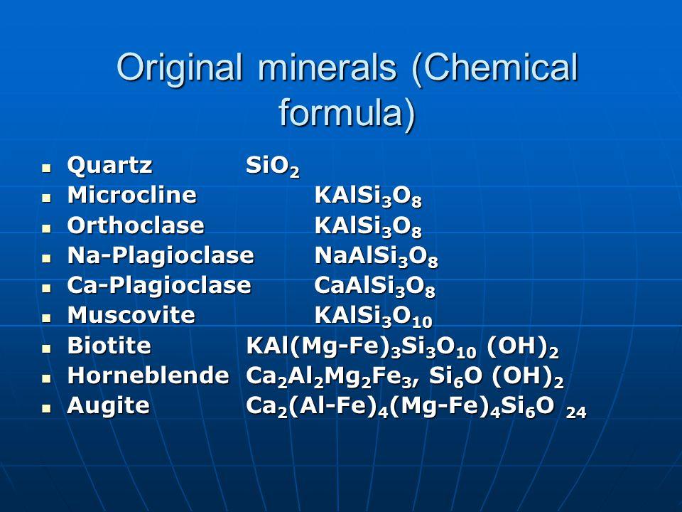 Original minerals (Chemical formula) QuartzSiO 2 QuartzSiO 2 MicroclineKAlSi 3 O 8 MicroclineKAlSi 3 O 8 OrthoclaseKAlSi 3 O 8 OrthoclaseKAlSi 3 O 8 Na-PlagioclaseNaAlSi 3 O 8 Na-PlagioclaseNaAlSi 3 O 8 Ca-PlagioclaseCaAlSi 3 O 8 Ca-PlagioclaseCaAlSi 3 O 8 MuscoviteKAlSi 3 O 10 MuscoviteKAlSi 3 O 10 BiotiteKAl(Mg-Fe) 3 Si 3 O 10 (OH) 2 BiotiteKAl(Mg-Fe) 3 Si 3 O 10 (OH) 2 HorneblendeCa 2 Al 2 Mg 2 Fe 3, Si 6 O (OH) 2 HorneblendeCa 2 Al 2 Mg 2 Fe 3, Si 6 O (OH) 2 AugiteCa 2 (Al-Fe) 4 (Mg-Fe) 4 Si 6 O 24 AugiteCa 2 (Al-Fe) 4 (Mg-Fe) 4 Si 6 O 24