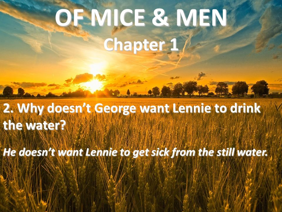 2. Why doesn't George want Lennie to drink the water? He doesn't want Lennie to get sick from the still water. OF MICE & MEN Chapter 1