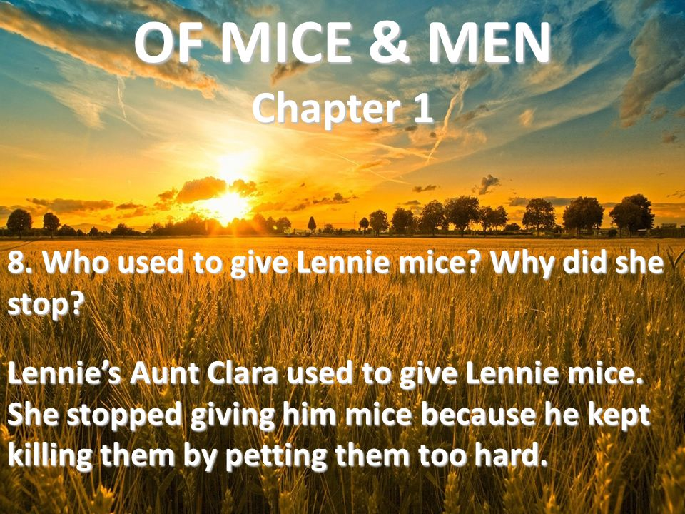 8. Who used to give Lennie mice? Why did she stop? Lennie's Aunt Clara used to give Lennie mice. She stopped giving him mice because he kept killing t