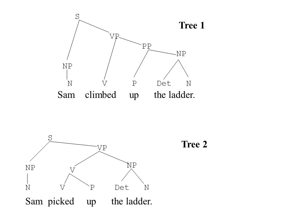 Sam climbed up the ladder. Sam picked up the ladder. N V P Det N NP VP S V NP VP PP S Tree 1 Tree 2