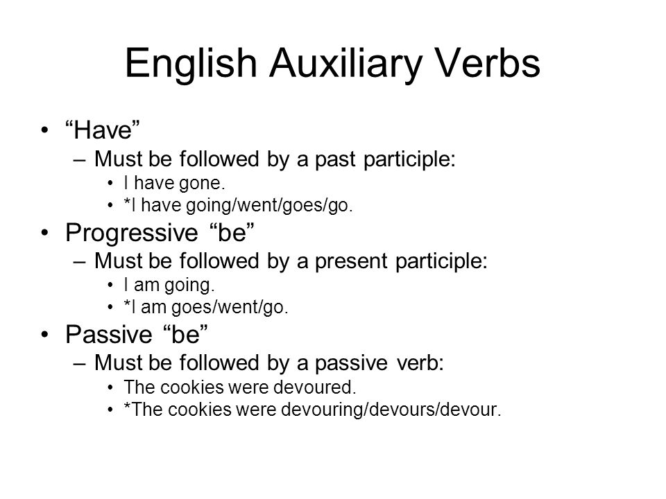 English Auxiliary Verbs Have –Must be followed by a past participle: I have gone.