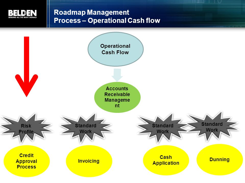 Roadmap Management Process – Operational Cash flow Operational Cash Flow Operational Cash Flow Accounts Receivable Manageme nt Risk Profile Risk Profile Standard Work Credit Approval Process Credit Approval Process Invoicing Cash Application Dunning