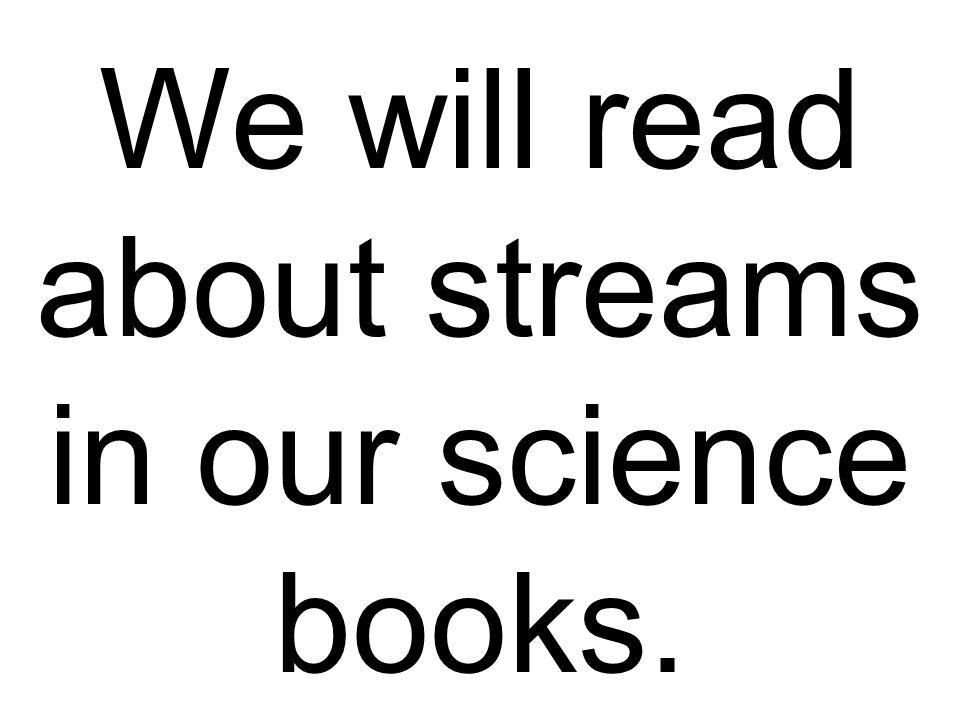We will read about streams in our science books.