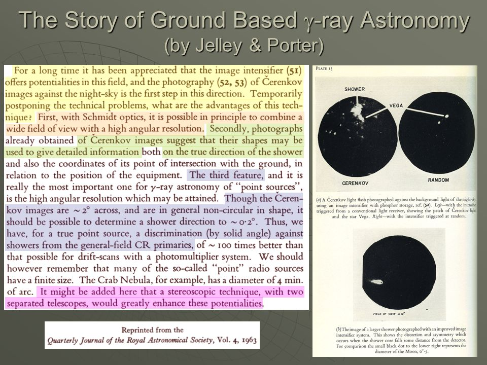 The Story of Ground Based  -ray Astronomy (by Jelley & Porter)