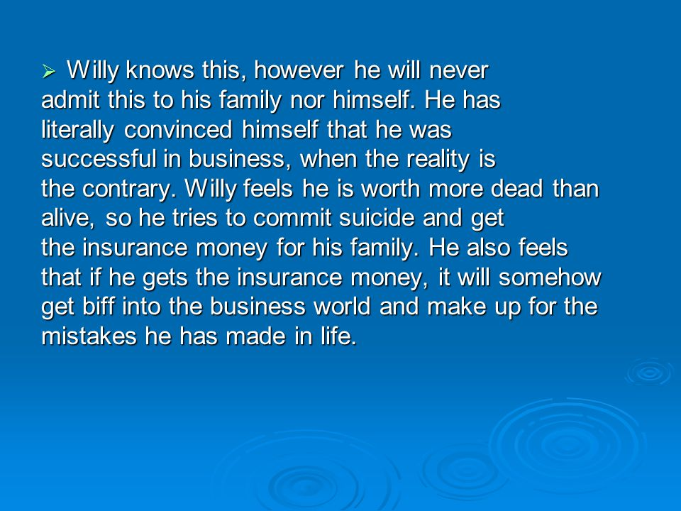  Willy knows this, however he will never admit this to his family nor himself. He has literally convinced himself that he was successful in business,