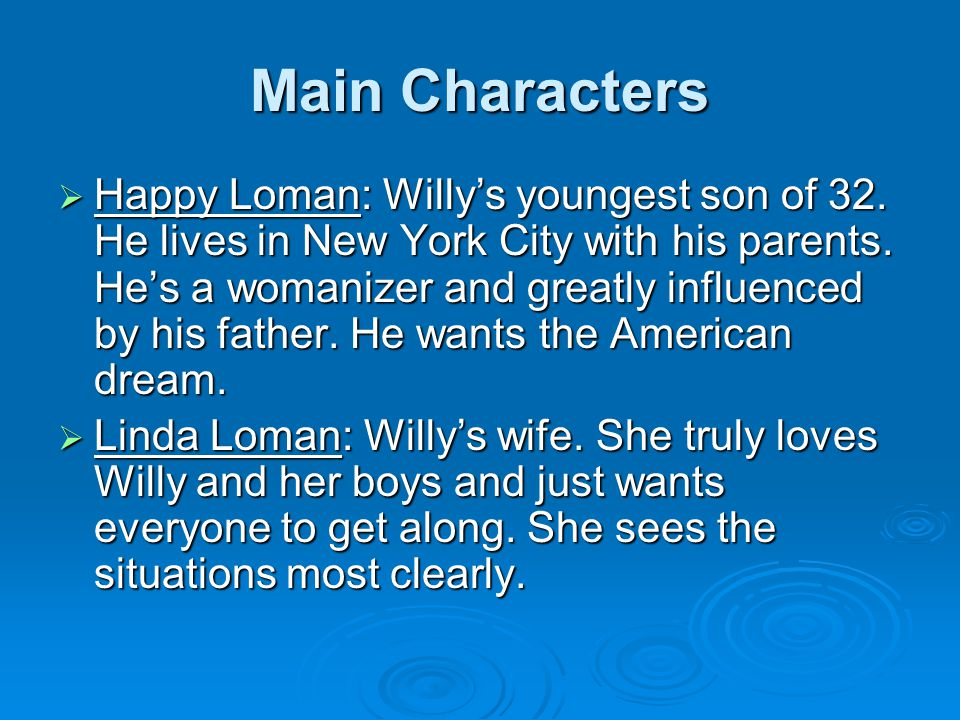 Main Characters  Happy Loman: Willy's youngest son of 32. He lives in New York City with his parents. He's a womanizer and greatly influenced by his