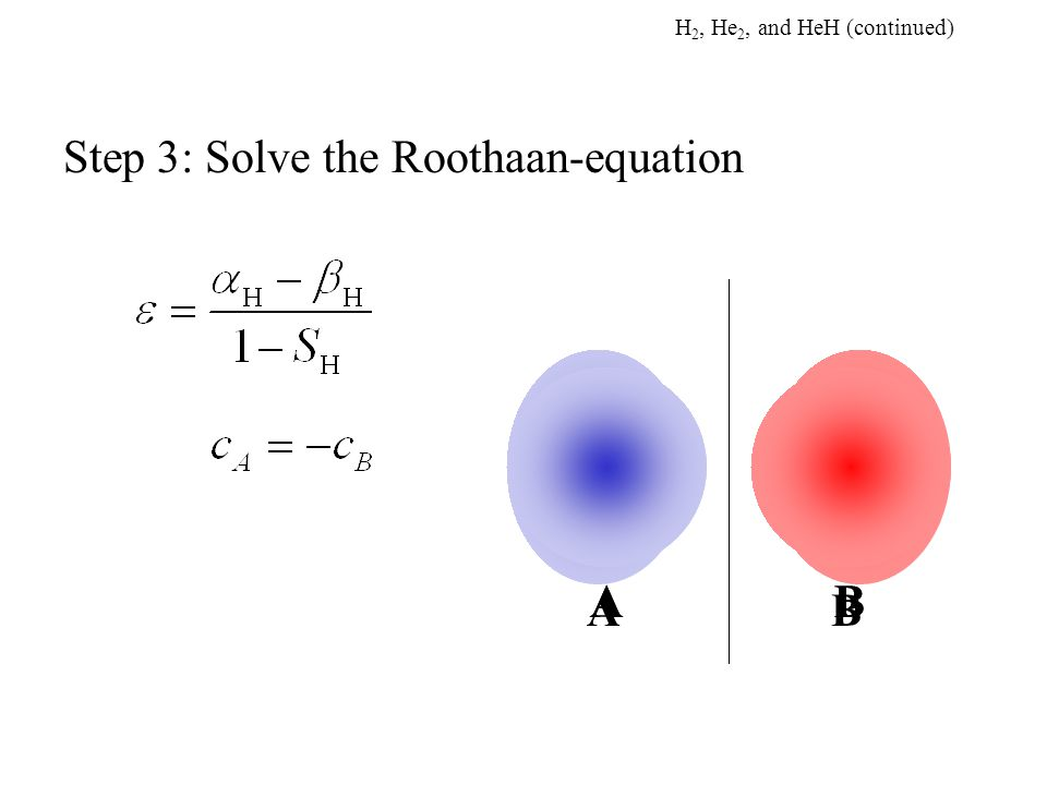 AB AB AB Step 3: Solve the Roothaan-equation