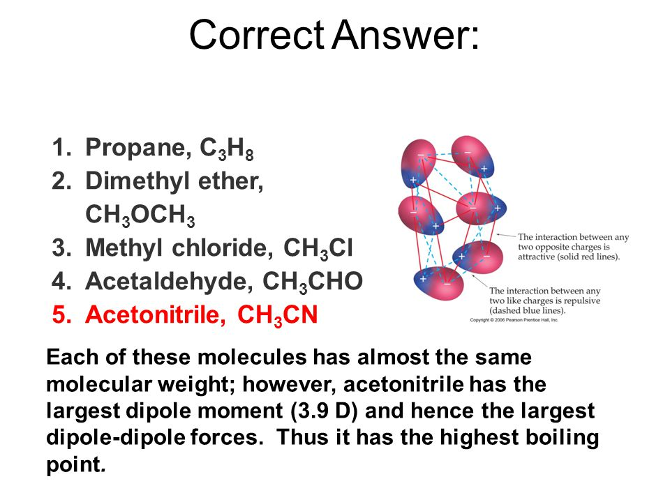 Correct Answer: Each of these molecules has almost the same molecular weight; however, acetonitrile has the largest dipole moment (3.9 D) and hence the largest dipole-dipole forces.