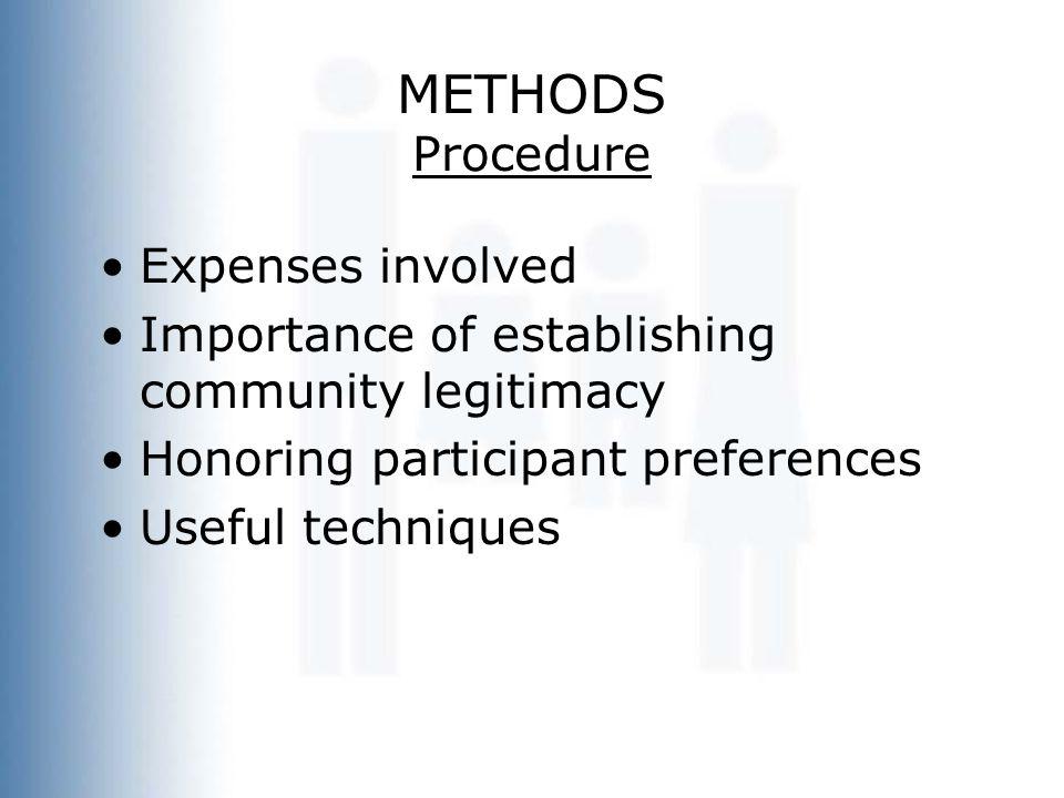 METHODS Procedure Expenses involved Importance of establishing community legitimacy Honoring participant preferences Useful techniques